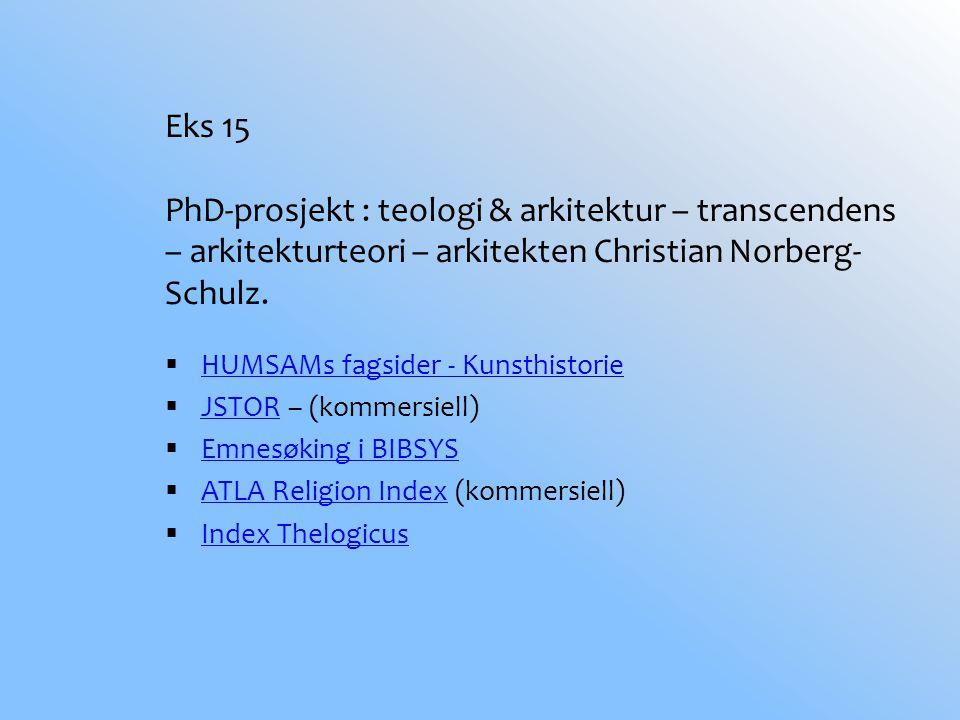 Eks 15 PhD-prosjekt : teologi & arkitektur – transcendens – arkitekturteori – arkitekten Christian Norberg- Schulz.