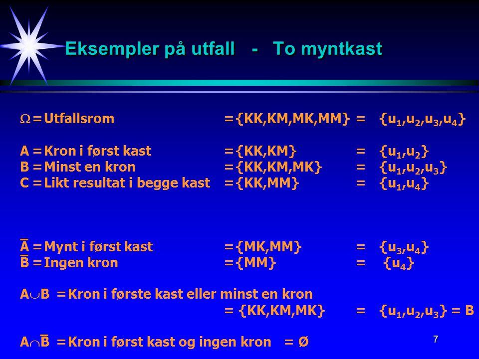 7 Eksempler på utfall - To myntkast  =Utfallsrom={KK,KM,MK,MM}= {u 1,u 2,u 3,u 4 } A=Kron i først kast={KK,KM}={u 1,u 2 } B=Minst en kron={KK,KM,MK}=