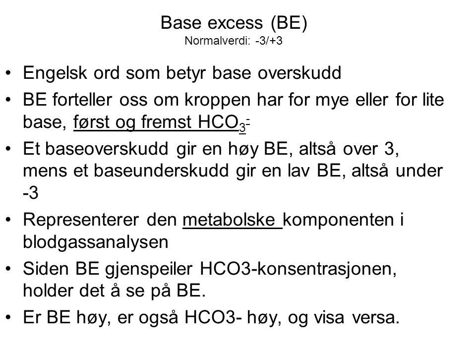 Base excess (BE) Normalverdi: -3/+3 Engelsk ord som betyr base overskudd BE forteller oss om kroppen har for mye eller for lite base, først og fremst HCO 3 - Et baseoverskudd gir en høy BE, altså over 3, mens et baseunderskudd gir en lav BE, altså under -3 Representerer den metabolske komponenten i blodgassanalysen Siden BE gjenspeiler HCO3-konsentrasjonen, holder det å se på BE.