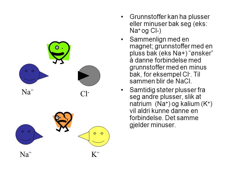 Grunnstoffer kan ha plusser eller minuser bak seg (eks: Na + og Cl-) Sammenlign med en magnet; grunnstoffer med en pluss bak (eks Na+) ønsker å danne forbindelse med grunnstoffer med en minus bak, for eksempel Cl -.
