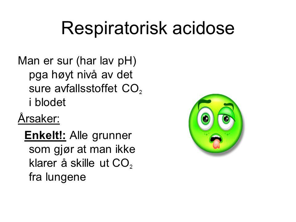 Respiratorisk acidose Man er sur (har lav pH) pga høyt nivå av det sure avfallsstoffet CO 2 i blodet Årsaker: Enkelt!: Alle grunner som gjør at man ikke klarer å skille ut CO 2 fra lungene