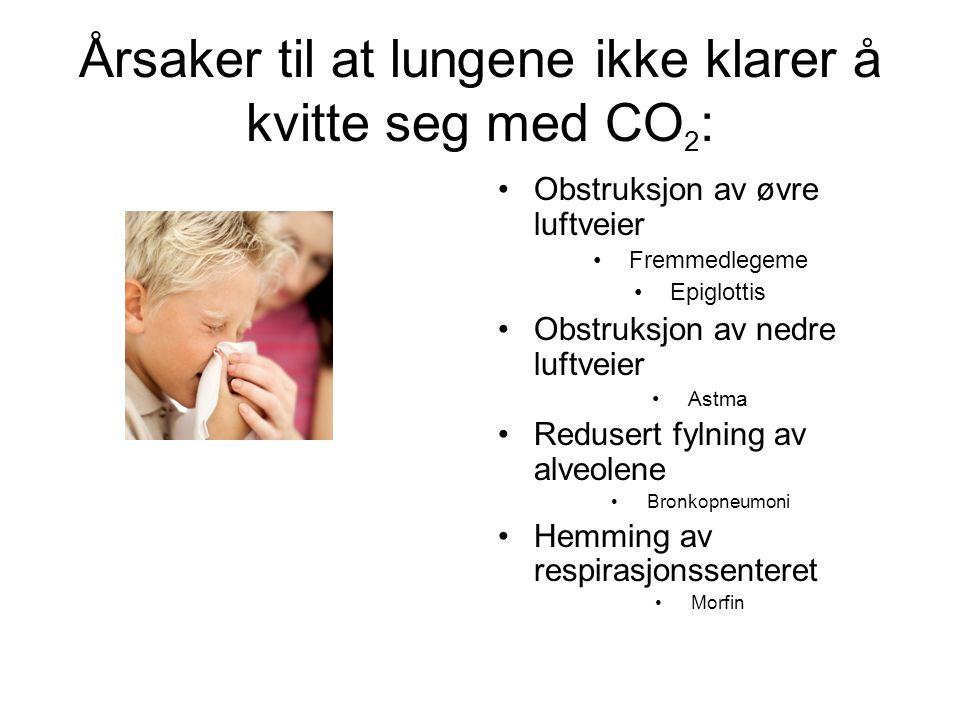 Årsaker til at lungene ikke klarer å kvitte seg med CO 2 : Obstruksjon av øvre luftveier Fremmedlegeme Epiglottis Obstruksjon av nedre luftveier Astma Redusert fylning av alveolene Bronkopneumoni Hemming av respirasjonssenteret Morfin