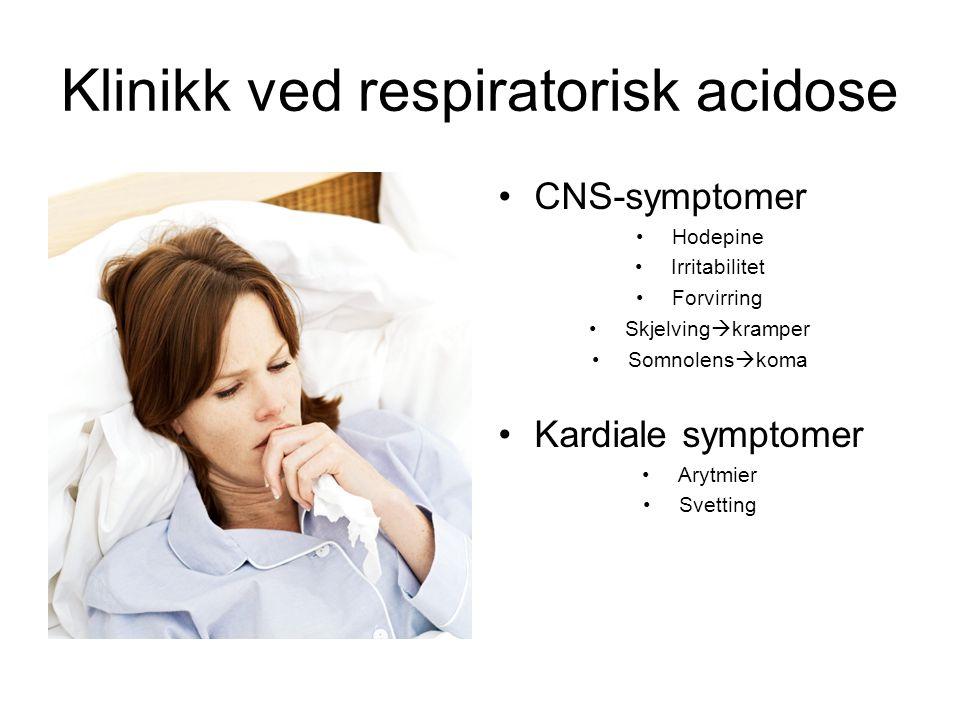 Klinikk ved respiratorisk acidose CNS-symptomer Hodepine Irritabilitet Forvirring Skjelving  kramper Somnolens  koma Kardiale symptomer Arytmier Svetting