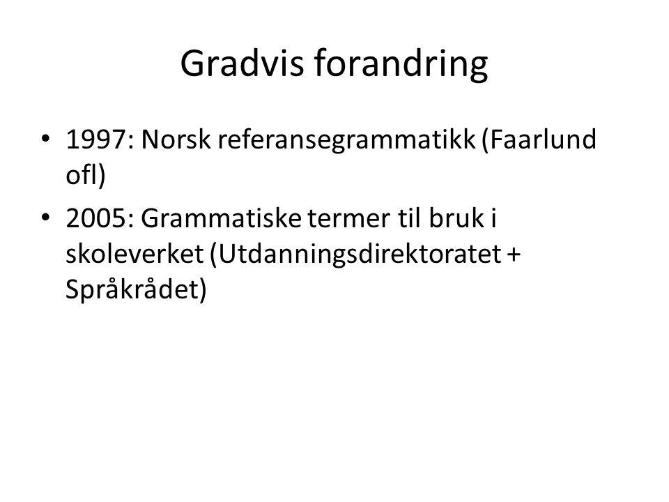 Gradvis forandring 1997: Norsk referansegrammatikk (Faarlund ofl) 2005: Grammatiske termer til bruk i skoleverket (Utdanningsdirektoratet + Språkrådet)