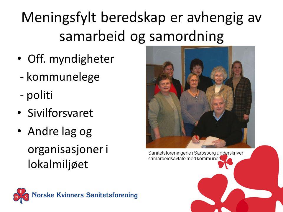 Samfunnsansvar Et trygt og robust samfunn - der alle tar ansvar Sanitetskvinnene viderefører arven etter Fredrikke M.