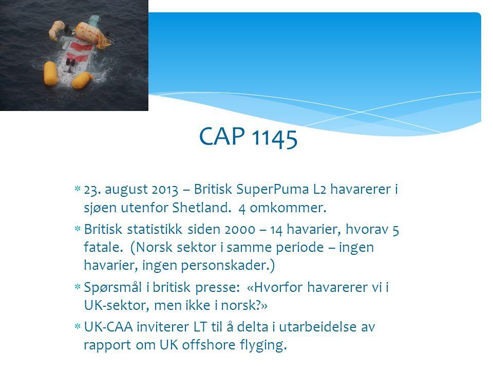 CAP 1145 Bakgrunn…  23. august 2013 – Britisk SuperPuma L2 havarerer i sjøen utenfor Shetland.