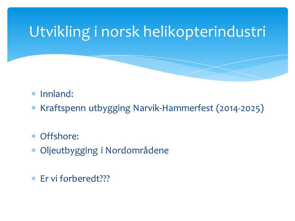  Innland:  Kraftspenn utbygging Narvik-Hammerfest (2014-2025)  Offshore:  Oljeutbygging i Nordområdene  Er vi forberedt??.
