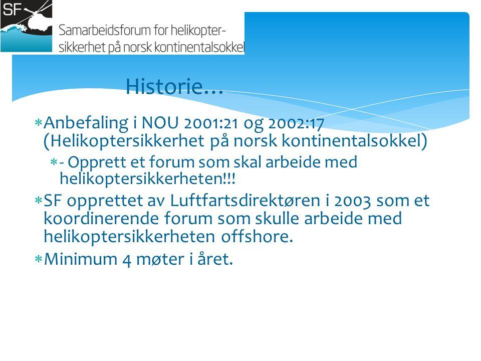  Anbefaling i NOU 2001:21 og 2002:17 (Helikoptersikkerhet på norsk kontinentalsokkel)  - Opprett et forum som skal arbeide med helikoptersikkerheten!!.