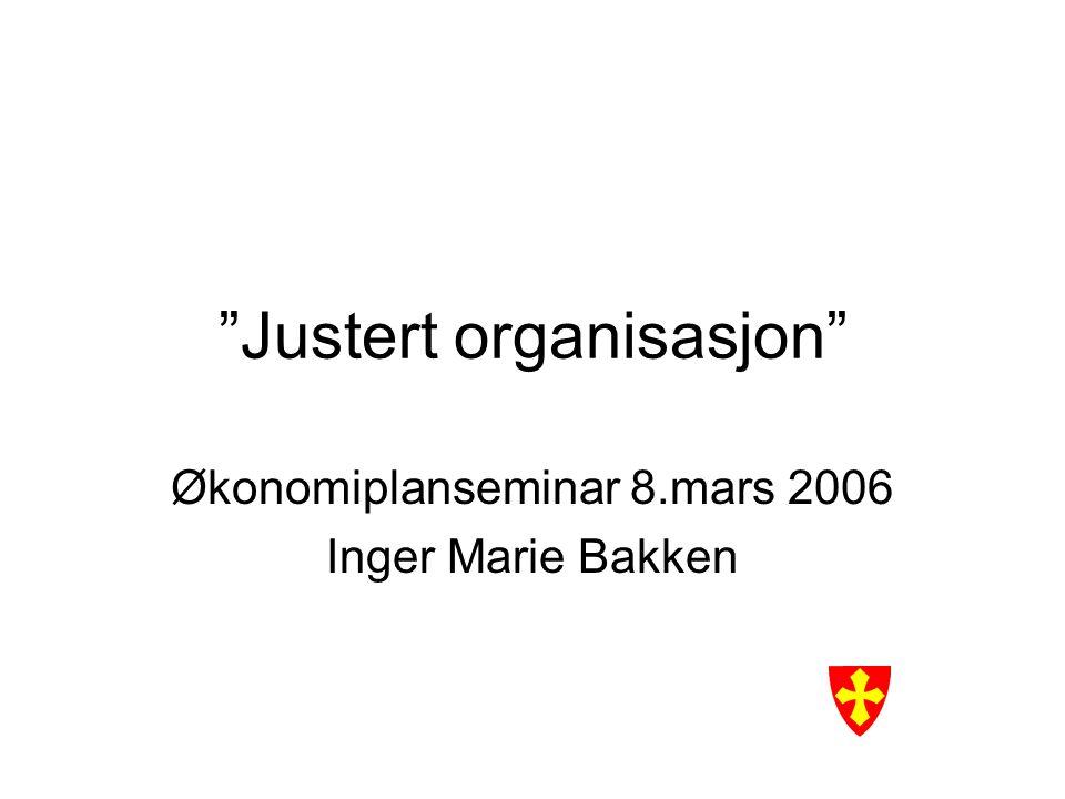 """""""Justert organisasjon"""" Økonomiplanseminar 8.mars 2006 Inger Marie Bakken"""