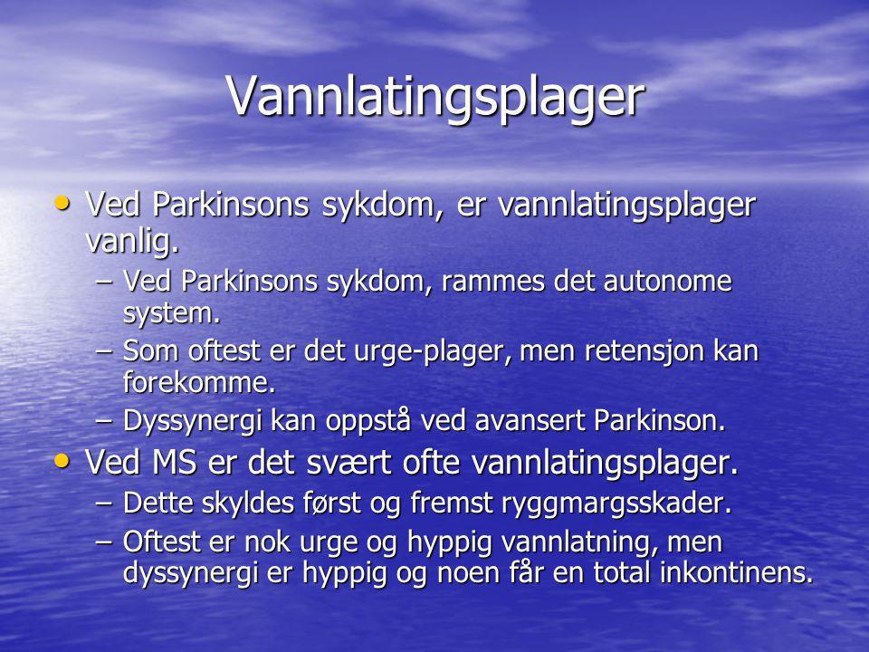 Vannlatingsplager Ved Parkinsons sykdom, er vannlatingsplager vanlig. Ved Parkinsons sykdom, er vannlatingsplager vanlig. –Ved Parkinsons sykdom, ramm