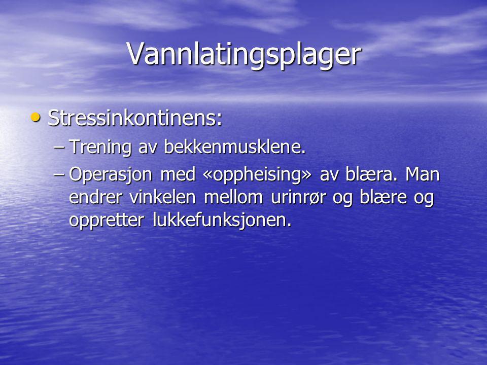 Vannlatingsplager Stressinkontinens: Stressinkontinens: –Trening av bekkenmusklene. –Operasjon med «oppheising» av blæra. Man endrer vinkelen mellom u