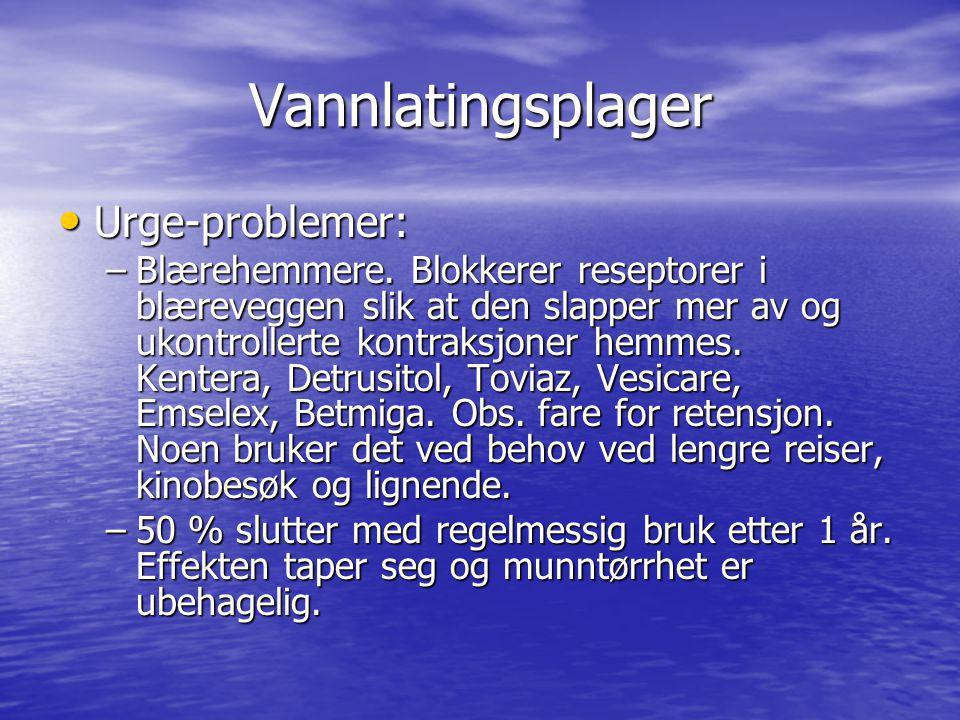 Vannlatingsplager Urge-problemer: Urge-problemer: –Blærehemmere. Blokkerer reseptorer i blæreveggen slik at den slapper mer av og ukontrollerte kontra