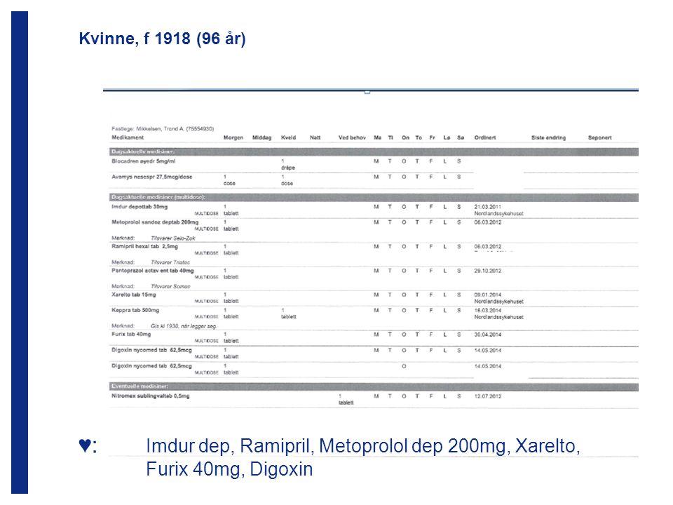 ♥: Imdur dep, Ramipril, Metoprolol dep 200mg, Xarelto, Furix 40mg, Digoxin Kvinne, f 1918 (96 år)