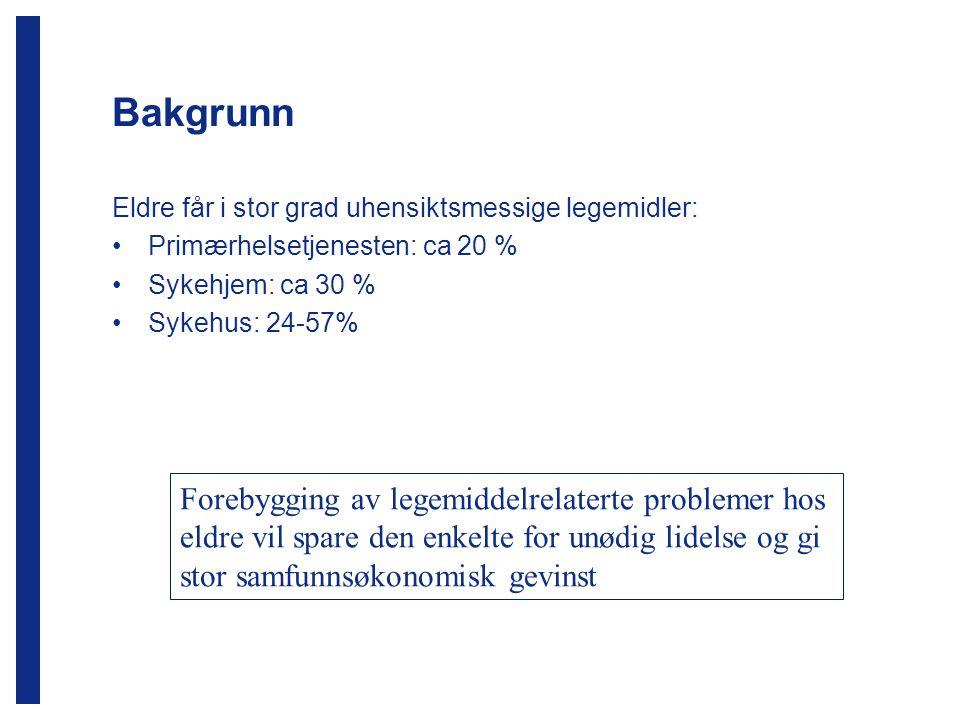 Bakgrunn Eldre får i stor grad uhensiktsmessige legemidler: Primærhelsetjenesten: ca 20 % Sykehjem: ca 30 % Sykehus: 24-57% Forebygging av legemiddelr