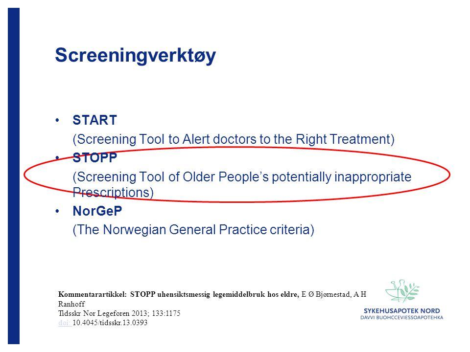 Bruk av screeningverktøy Systematisk legemiddelgjennomgang av de samme pasientene identifiserte 67 uhensiktsmessige legemidler STOPP inn STOPP ut NorGeP inn NorGeP ut Prospektiv N=31 154136 Retrospektiv N=29 79