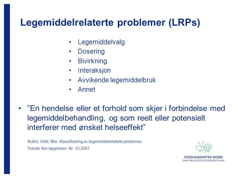 """Legemiddelrelaterte problemer (LRPs) Legemiddelvalg Dosering Bivirkning Interaksjon Avvikende legemiddelbruk Annet """"En hendelse eller et forhold som s"""