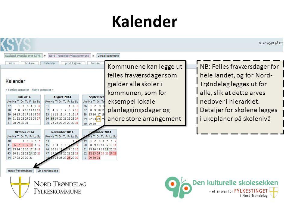 Kalender Kommunene kan legge ut felles fraværsdager som gjelder alle skoler i kommunen, som for eksempel lokale planleggingsdager og andre store arran