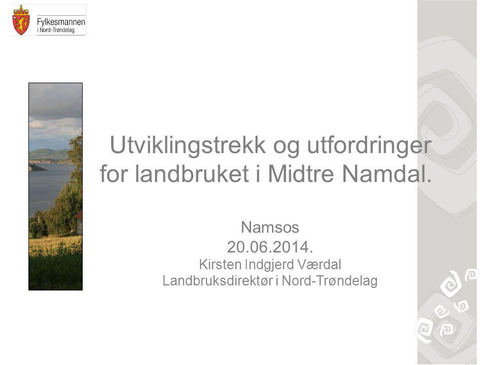 Utviklingstrekk og utfordringer for landbruket i Midtre Namdal.