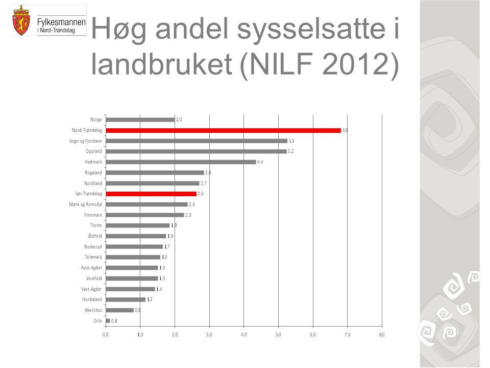 Høg andel sysselsatte i landbruket (NILF 2012)