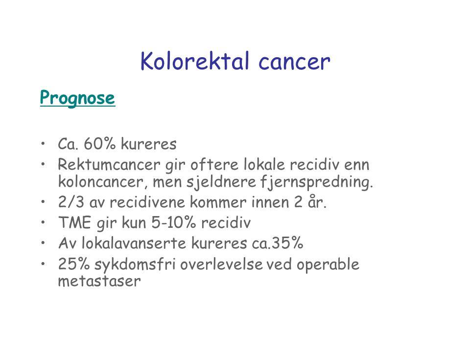 Kolorektal cancer Prognose Ca. 60% kureres Rektumcancer gir oftere lokale recidiv enn koloncancer, men sjeldnere fjernspredning. 2/3 av recidivene kom