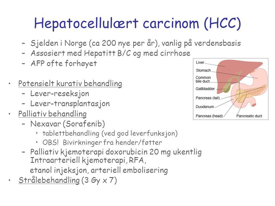 Hepatocellulært carcinom (HCC) –Sjelden i Norge (ca 200 nye per år), vanlig på verdensbasis –Assosiert med Hepatitt B/C og med cirrhose –AFP ofte forh