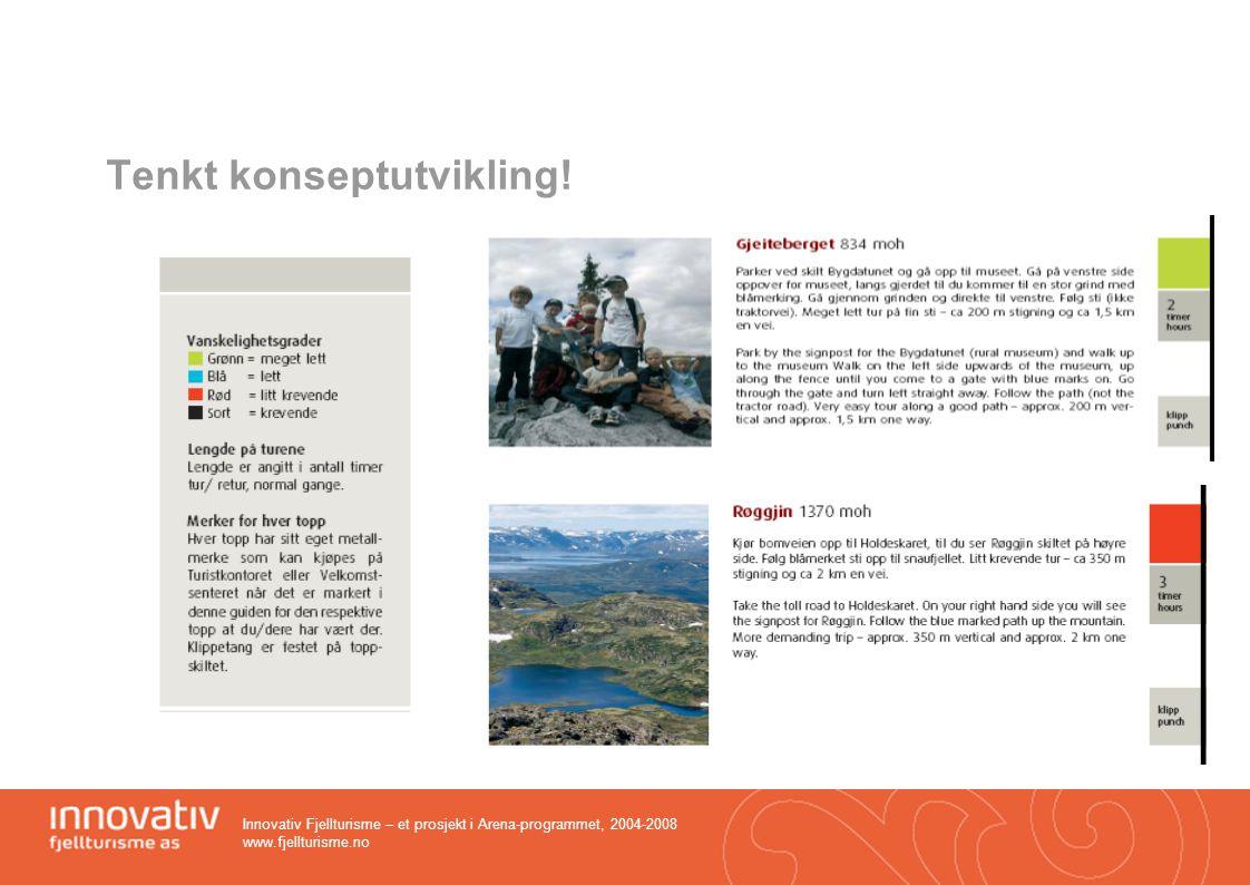 Innovativ Fjellturisme – et prosjekt i Arena-programmet, 2004-2008 www.fjellturisme.no Tenkt konseptutvikling!