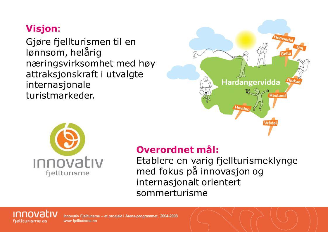 Innovativ Fjellturisme – et prosjekt i Arena-programmet, 2004-2008 www.fjellturisme.no Fra regional til nasjonal standard Destinasjoner over hele landet –Distribuert over 200 CD'er –Inkl.