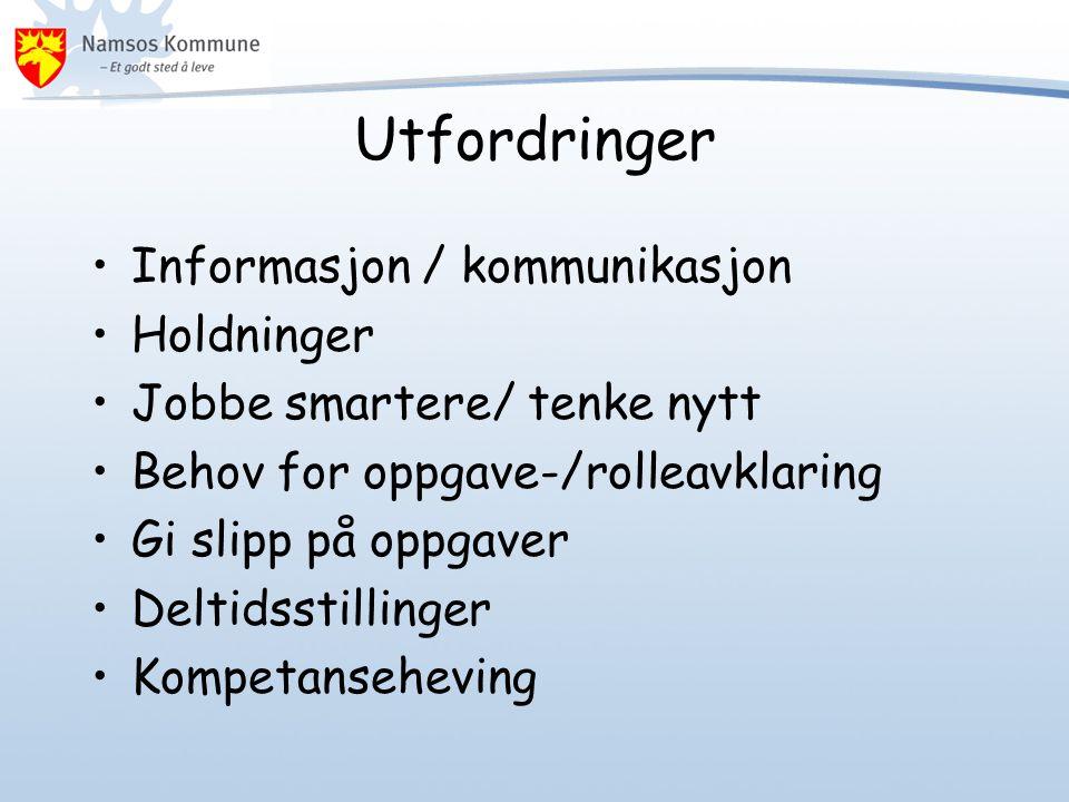Utfordringer Informasjon / kommunikasjon Holdninger Jobbe smartere/ tenke nytt Behov for oppgave-/rolleavklaring Gi slipp på oppgaver Deltidsstillinger Kompetanseheving