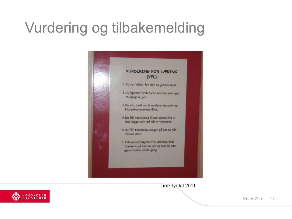 Vurdering og tilbakemelding Mattias Øhra12 Line Tyrdal 2011
