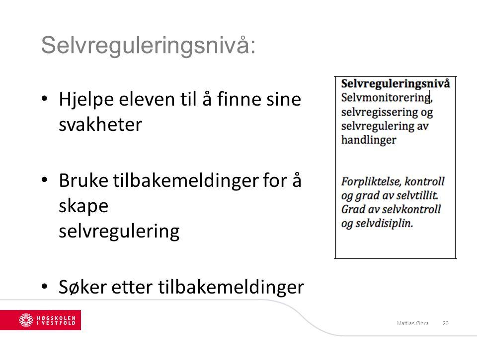 Selvreguleringsnivå: Mattias Øhra23 Hjelpe eleven til å finne sine svakheter Bruke tilbakemeldinger for å skape selvregulering Søker etter tilbakemeld