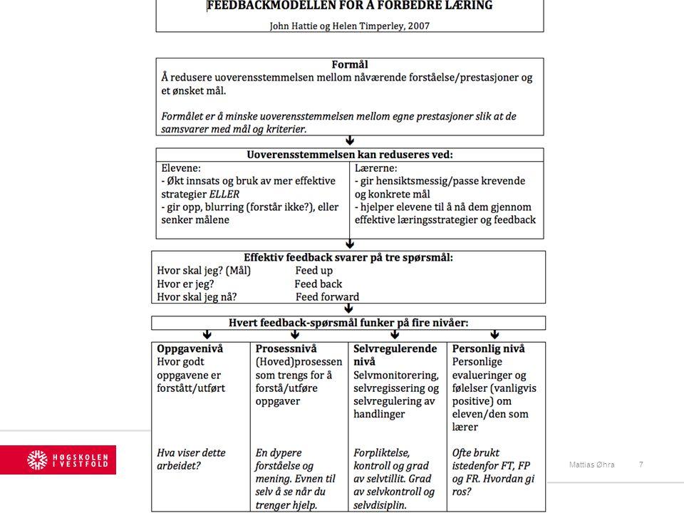 Tilbakemeldinger: Mattias Øhra18 Fire forskjellige tilbakemeldingsnivåer: 1.Tilbakemelding på oppgaven (Task level) 2.Tilbakemelding på prosessen (Process level) 3.Tilbakemelding på selvreguleringsnivå (Self-regulation level) 4.Tilbakemeldinger på person (Self level)