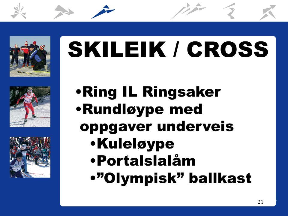 21 SKILEIK / CROSS Ring IL Ringsaker Rundløype med oppgaver underveis Kuleløype Portalslalåm Olympisk ballkast