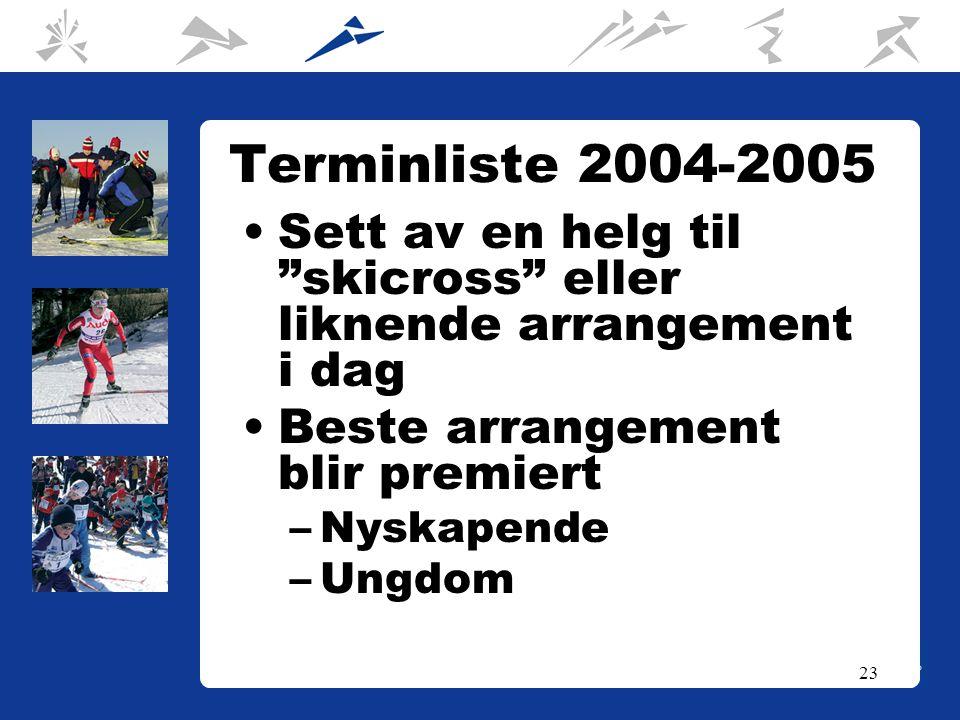 23 Terminliste 2004-2005 Sett av en helg til skicross eller liknende arrangement i dag Beste arrangement blir premiert –Nyskapende –Ungdom