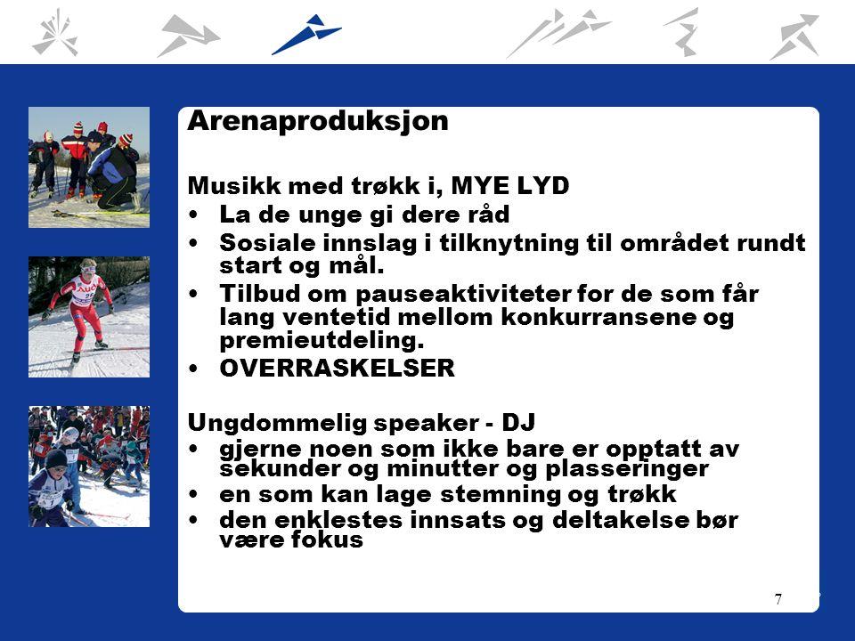7 Arenaproduksjon Musikk med trøkk i, MYE LYD La de unge gi dere råd Sosiale innslag i tilknytning til området rundt start og mål.