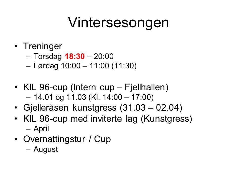 Vintersesongen Treninger –Torsdag 18:30 – 20:00 –Lørdag 10:00 – 11:00 (11:30) KIL 96-cup (Intern cup – Fjellhallen) –14.01 og 11.03 (Kl. 14:00 – 17:00