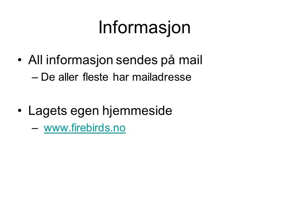 Informasjon All informasjon sendes på mail –De aller fleste har mailadresse Lagets egen hjemmeside – www.firebirds.nowww.firebirds.no