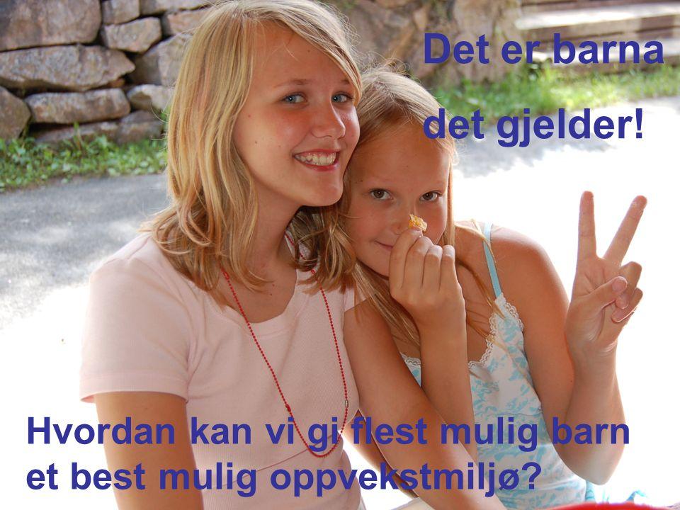 Landsmøter Bergen 2007 Nærbilde av barn Det handler om barna Hvordan kan vi gi flere barn et bedre oppvekstmiljø.