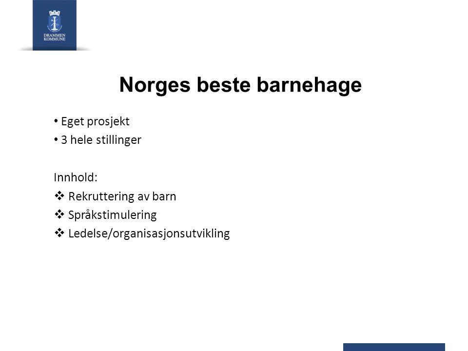 Norges beste barnehage Eget prosjekt 3 hele stillinger Innhold:  Rekruttering av barn  Språkstimulering  Ledelse/organisasjonsutvikling