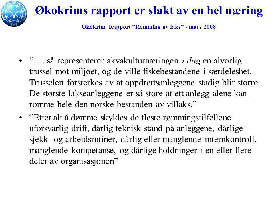 """Økokrims rapport er slakt av en hel næring Økokrim Rapport """"Rømming av laks"""" - mars 2008 """"…..så representerer akvakulturnæringen i dag en alvorlig tru"""