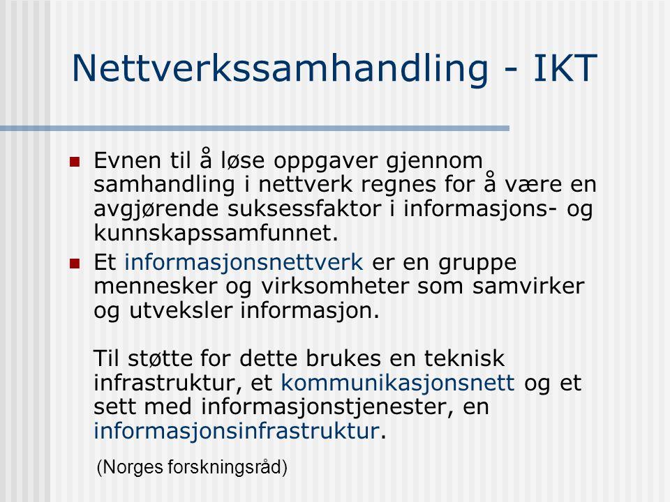 Kunnskapsøkonomikjeden Kunnskap/kompetanse Innovasjon Verdiskaping Nettverk (Norges forskningsråd) I kunnskapsøkonomien er kunnskap den viktigste ress