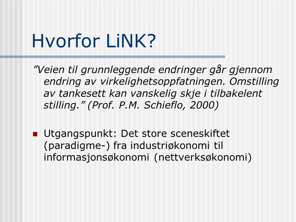 Hovedinnhold Hvorfor Lokale Informasjonsnettverk i Numedal og Kongsberg (LiNK) Hvem stod bak LiNK-programmet ? Bakgrunn og historikk - forutsetninger