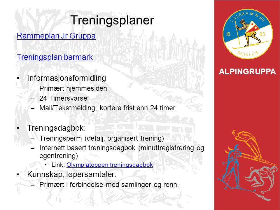 ALPINGRUPPA Treningsplaner Rammeplan Jr Gruppa Treningsplan barmark Informasjonsformidling –Primært hjemmesiden –24 Timersvarsel –Mail/Tekstmelding; k
