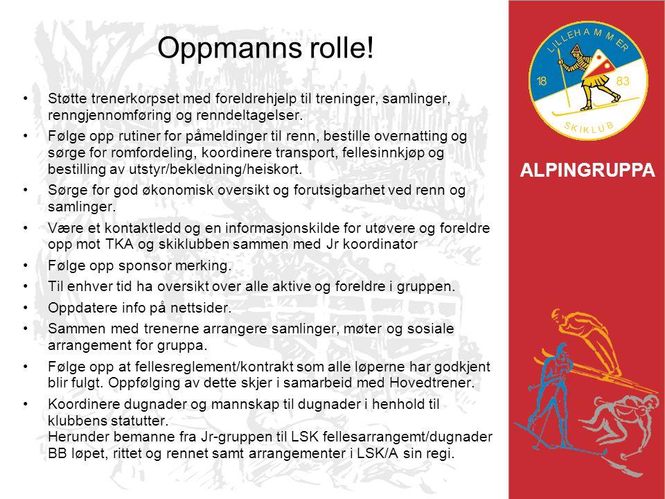 ALPINGRUPPA Oppmanns rolle! Støtte trenerkorpset med foreldrehjelp til treninger, samlinger, renngjennomføring og renndeltagelser. Følge opp rutiner f