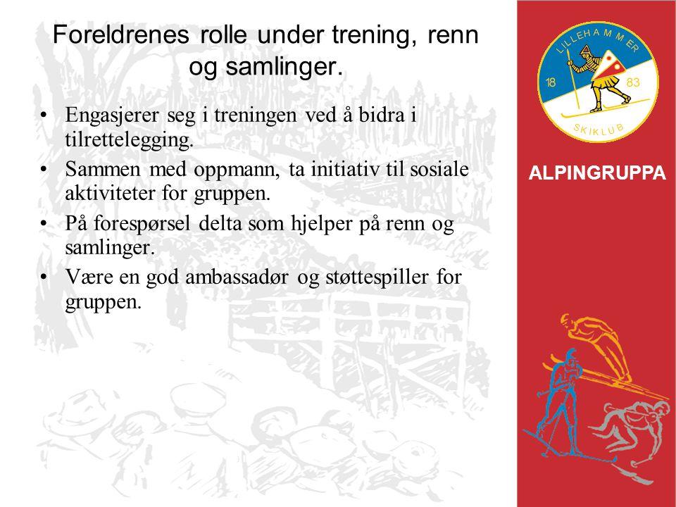 ALPINGRUPPA Foreldrenes rolle under trening, renn og samlinger. Engasjerer seg i treningen ved å bidra i tilrettelegging. Sammen med oppmann, ta initi