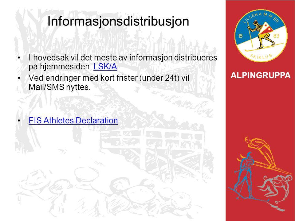 ALPINGRUPPA Informasjonsdistribusjon I hovedsak vil det meste av informasjon distribueres på hjemmesiden; LSK/ALSK/A Ved endringer med kort frister (u