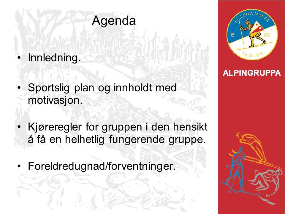 ALPINGRUPPA Agenda Innledning. Sportslig plan og innholdt med motivasjon. Kjøreregler for gruppen i den hensikt å få en helhetlig fungerende gruppe. F