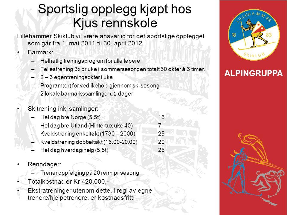 ALPINGRUPPA Sportslig opplegg kjøpt hos Kjus rennskole Lillehammer Skiklub vil være ansvarlig for det sportslige opplegget som går fra 1. mai 2011 til