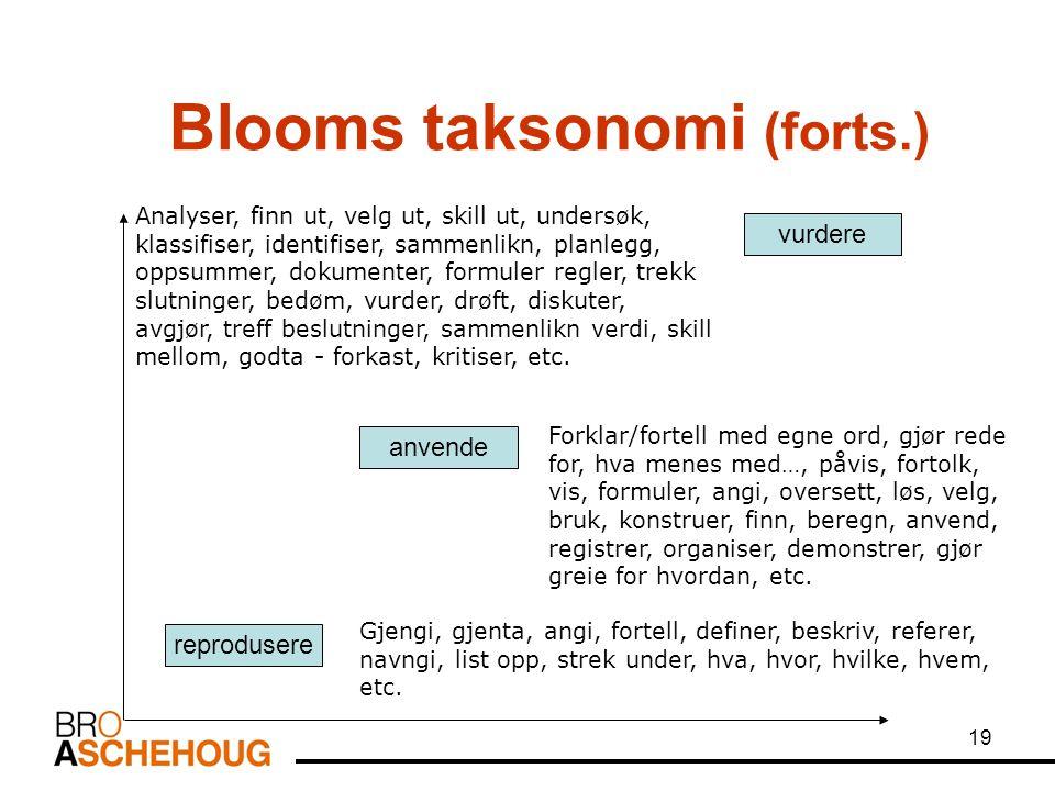 19 Blooms taksonomi (forts.) reprodusere anvende Gjengi, gjenta, angi, fortell, definer, beskriv, referer, navngi, list opp, strek under, hva, hvor, h