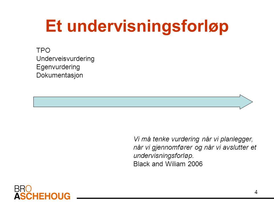 4 Et undervisningsforløp TPO Underveisvurdering Egenvurdering Dokumentasjon Vi må tenke vurdering når vi planlegger, når vi gjennomfører og når vi avs