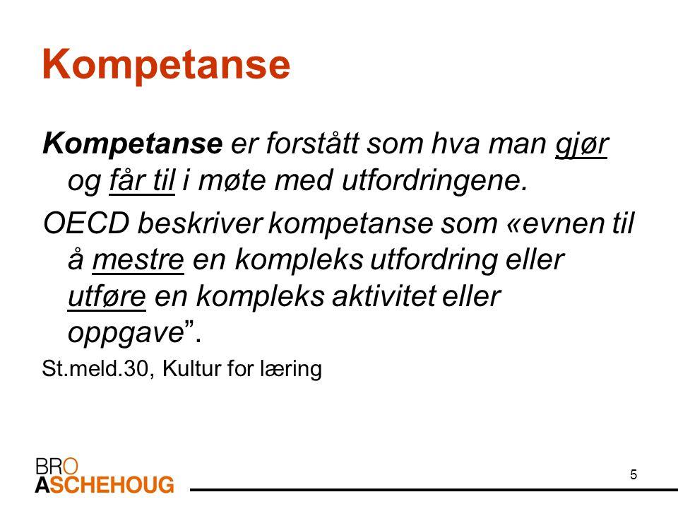 5 Kompetanse Kompetanse er forstått som hva man gjør og får til i møte med utfordringene. OECD beskriver kompetanse som «evnen til å mestre en komplek